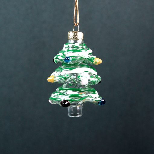 Gallicchio Glass Christmas Tree Ornament-Green_White