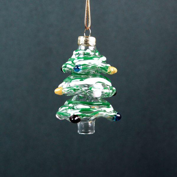 Gallicchio Glass Christmas Tree Ornament-Green_White