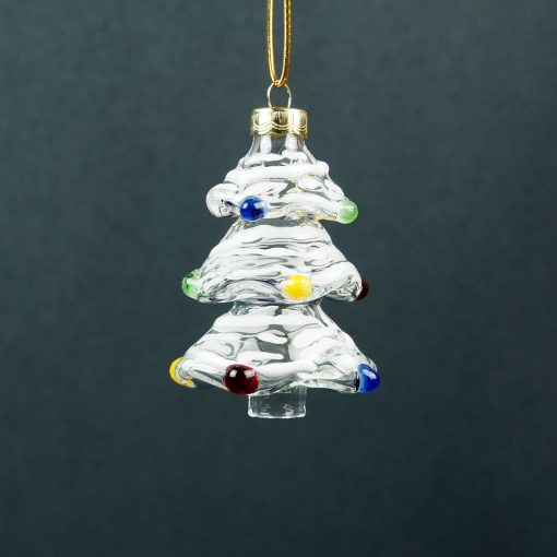 Gallicchio Glass Christmas Tree Ornament-White